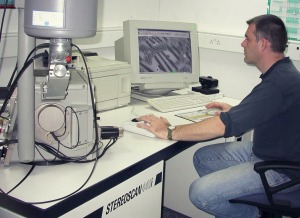 This is me operating a scanning electron microscope (SEM) which was used for the chemical analysis of all of the window glass samples during phase 1 of the project. The SEM data is of a high quality but it takes a long time to acquire (English Heritage science laboratories at Fort Cumberland in Portsmouth).