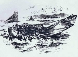 Sketch from the Lancashire County and Standard Advertiser, 7th September, 1894, as drawn by an eyewitness to the Matchless tragedy.