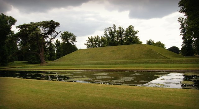 The raised mount, part of impressive late17th- and early18th-century formal gardens of canals, compartments and parterres at Boughton, Northamptonshire. Registered Grade I.