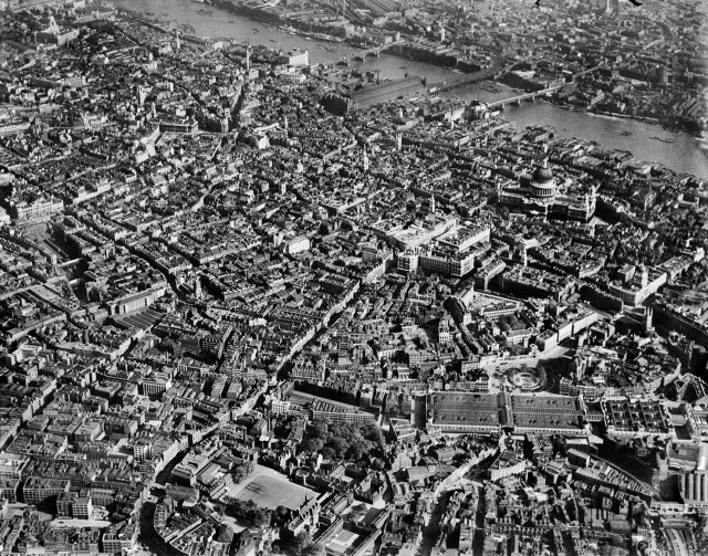 EPW021401, The city around the Central Market and St Paul's Cathedral, London, from the north-west, 30 May 1928