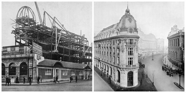Steel framing by Mewes & Davis, Bylander being erected for the elegant Morning Post Building, London (1906-1910)