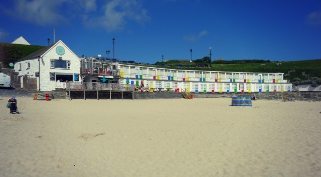 -WWII chalets at Porthgwiddan Beach, St Ives, Cornwall