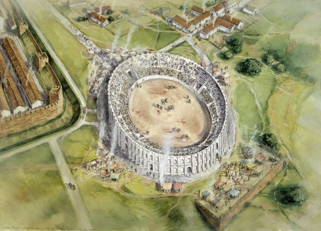 Reconstruction of Chester Amphitheatre © English Heritage Photo Library Please credit: Peter Dunn, English Heritage Graphics Team