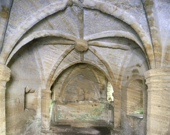 Warkworth Hermitage: View of the Chapel looking towards the altar © English Heritage Photo Library