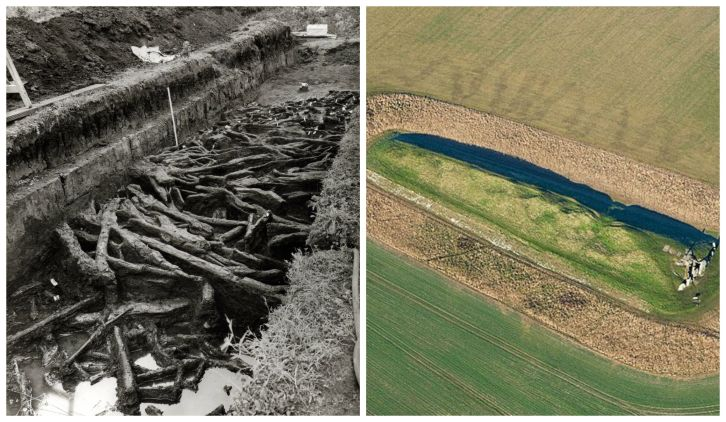 L: Star Carr brushwood, excavated by Grahame Clark in 1950 © Scarborough Archaeological and Historical Society: exploring the past through excavations, fieldwork & lectures. R: West Kennet Long Barrow, Wiltshire © Historic England Archives