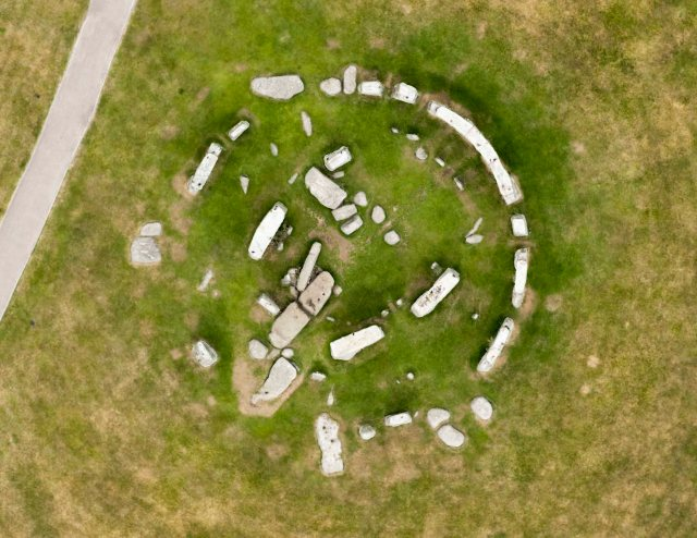Parchmarks at Stonehenge caused by holes for missing stones