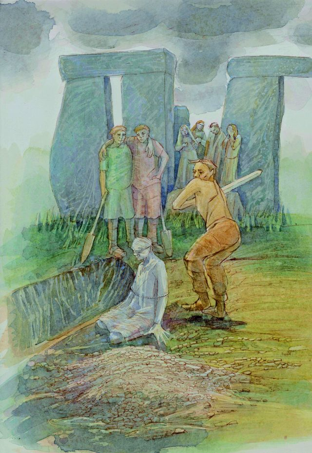 Imaginative reconstruction drawing of an execution at Stonehenge in around the 8th century AD