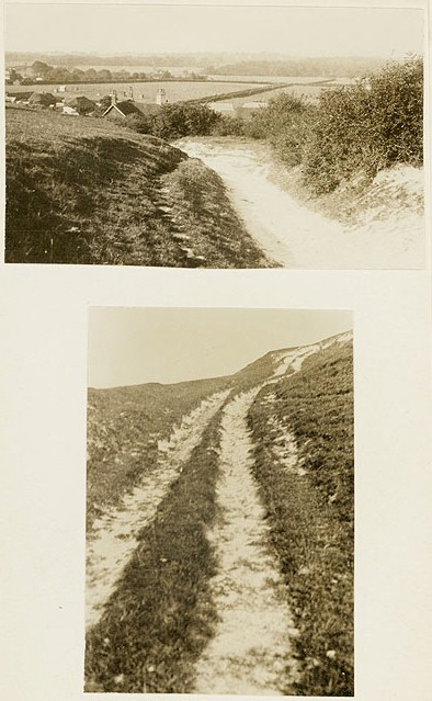 A 19th century image of the Pyecombe coach road in West Sussex, which originated as a Roman road between London and Brighton © Historic England Archives