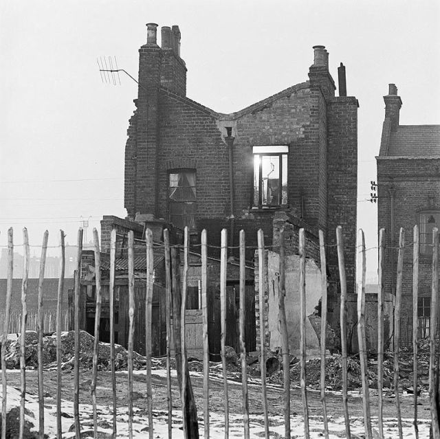Bomb damaged house, London East End