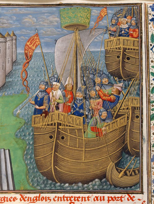 Depiction of a carrack, carrying John of Gaunt to Lisbon. From Jean de Wavrin's 'Chronicles of England', Bruges, c.1461-83. c British Library Board, Royal MS 14 E. IV, f.195r