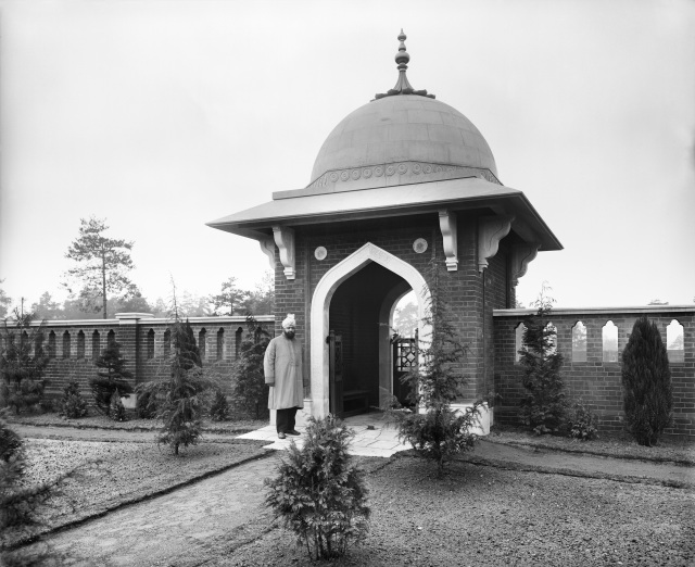 The Muslim burial ground at Horsell Common in Surrey, was established in 1917 to inter soldiers of the Indian Army who died in war hospitals on the south coast. English Heritage is supporting Woking Borough Council and the Horsell Common Preservation Society in their restoration of the burial ground. Listed Grade II. (BL23738_006)