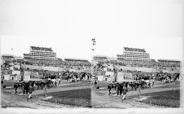 stereo general view of epsom racecourse on derby day from the south west. epsom racecourse surrey epsom and ewell epsom