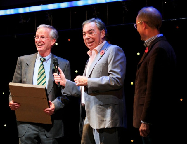 Brian Cooke from Leamington Hastings in Warwickshire, is presented with the award for Best Repair of a Place of Worship, for the rescue of All Saints' Church, by Andrew Lloyd Webber and Simon Thurley during the English Heritage Angel Awards 2014 at the Palace Theatre, London.