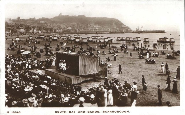 Scarborough, Yorkshire. Copy of postcard of seafront, circa 1900