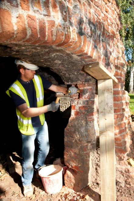 IMAGE 1 Brickwork removal at Eltham Palace, Greenwich, London (c) Historic England