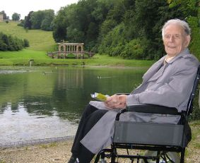 Lance-Corporal Henry John 'Harry' Patch of the Duke of Cornwall's Light Infantry photographed in 2007. © Jim Ross. Harry Patch died in 2009 aged 111. He was the last surviving combat soldier from the First World War. He joined the 7th Battalion of the Duke of Cornwall's Light Infantry as an assistant gunner, arriving in France in June 1917 and fighting at Passchendaele that summer. On 22nd September a shell exploded overhead and he was badly injured by shrapnel in the groin. Three of his comrades were blown to pieces. He later said '…Passchendaele was a disastrous battle…thousands and thousands of young lives were lost. It makes me angry…I went back to Ypres (November 2004, aged 106) to shake the hand of Charles Kuentz, Germany's only surviving veteran from the war. It was emotional. He is 107. We've had 87 years to think what war is… it's a licence to go out and murder…'