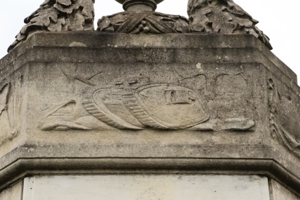 The son of Percy John de Paravicini, who was on the village's War Memorial Committee, was killed at the Battle of Cambrai. John Marcus de Paravicini's name is one of 54 inscribed on the memorial. Detail of tank frieze © Adrian Giddins for Datchet Village Society.