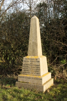 Hamilton and Wyness obelisk, Willian, Hertfordshire. Unveiled 27 November 1912. Newly listed at Grade II. © Historic England/DP219473. This memorial obelisk marks the deaths of RFC pilot Captain Patrick Hamilton and his reconnaissance observer Lieutenant Athole Wyness Stuart. They died on 6 September 1912 following engine failure on their way back to land at Willian. The men's uniforms were reputedly buried beneath the memorial. It is thought to be the first British public monument to individual RFC servicemen.