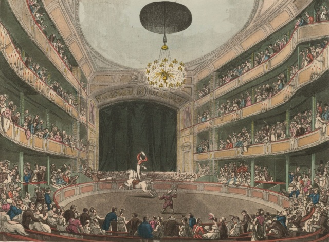 Astley's Amphitheatre in London 1808 (public domain) via wikipedia