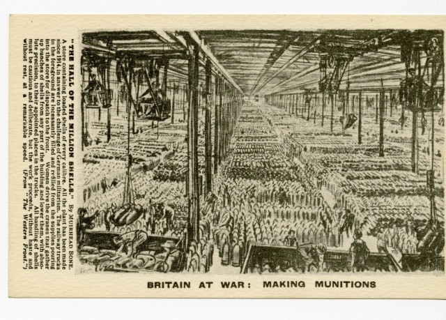 Postcard titled 'Britain at War: Making Munitions.'  The caption heading is 'The Hall of the Million Shells'.  Part of it reads: '…Women drive the cranes that gather up bunches of shells from any part of the building and lower them, with absolute precision, to their appointed places in the trucks…'