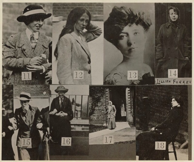 Collage of 8 candid photographs of suffragette women, numbered 11 - 18