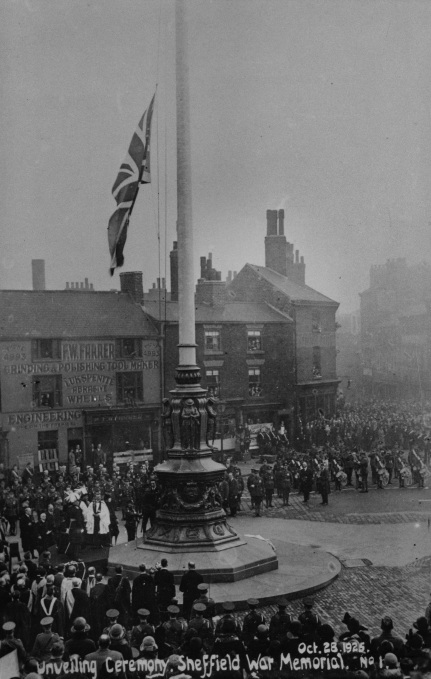 Sheffield War Memorial at it's unveiling, with crowds of people around