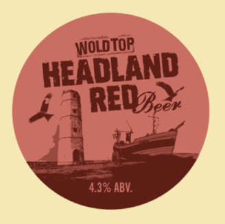 Wold Top Headland Red Beer label