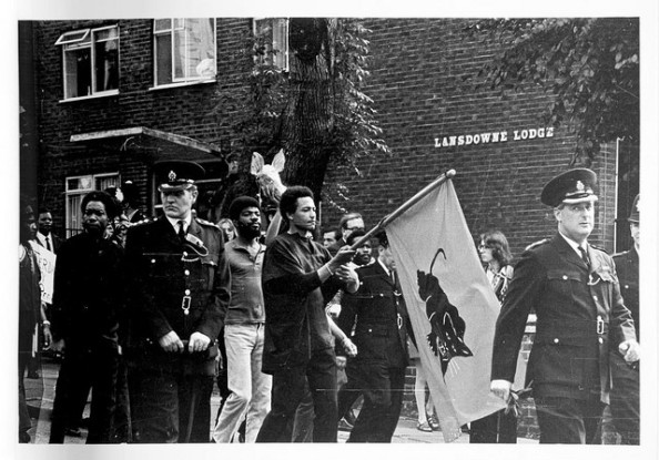Man grove Nine march taking place in Notting Hill during the Black Panther Movement.