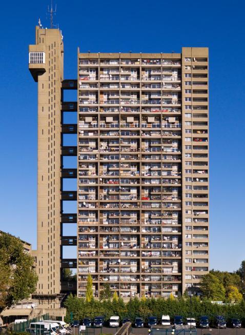 Post war Buildings. Trellick Tower, 5 Goldborne Road, North Kensington, London. General view of elevation.