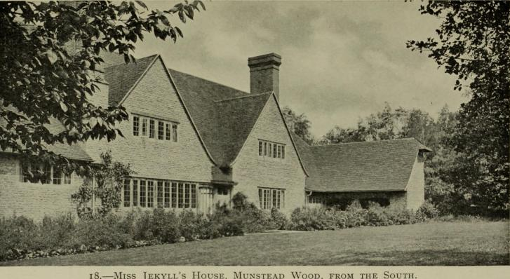 Illustration of a country house. Text reads' 18 - Miss Jekyll's House, Munstead Wood, from the South