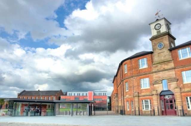 The grade II clock tower restored and joined by innovative new buildings in Derby. © Ian Harris, Maber Architects