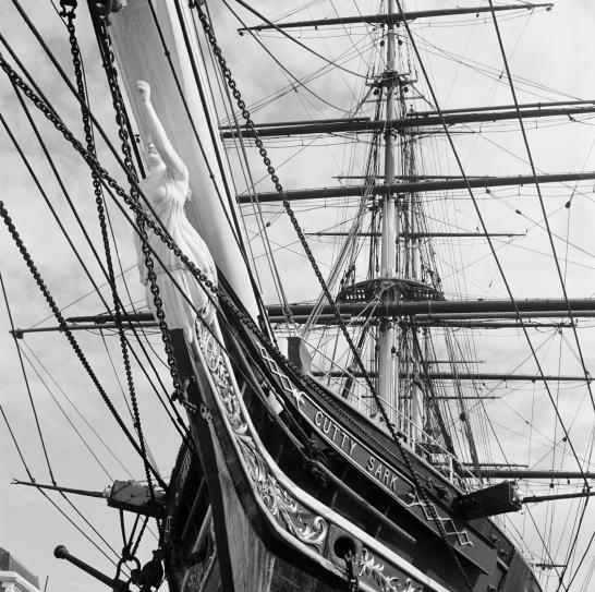 A view looking up at the masts of the Cutty Sark