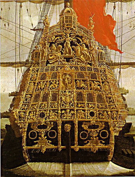 Stern of the Sovereign of the Seas, built for Charles I in 1637