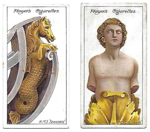 Two cigarette cards displaying golden figureheads - a horse and a man - side by side