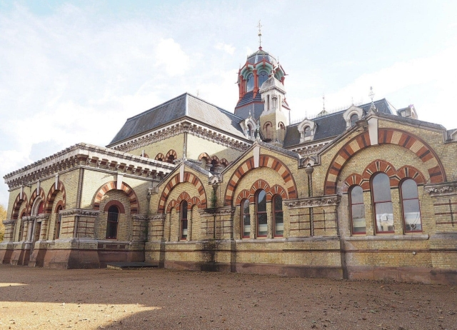 Decorative exterior of Abbey Mills pumping station, London.
