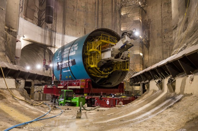 One of the super sewer's six giant Tunnel Boring Machine