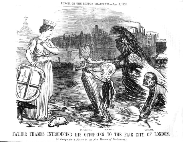 A sketched cartoon of 'Father Thames' introducing his children to the female embodyment of the City of London. Three sickly children shown represent diptheria, scrofula and cholera