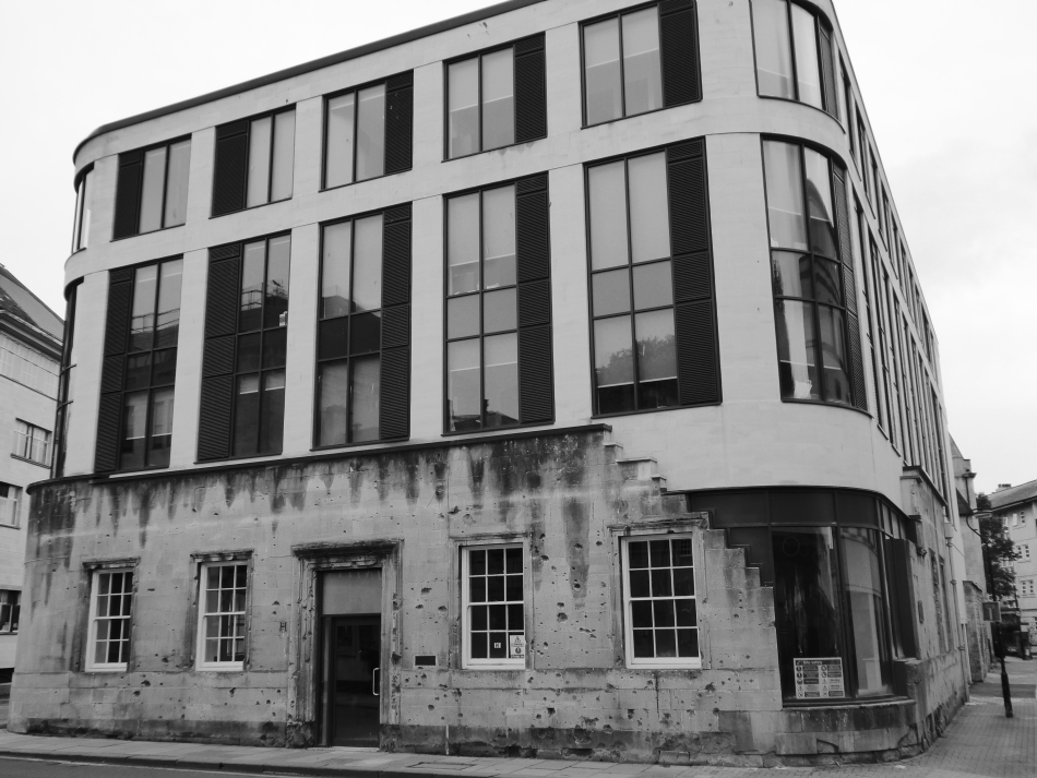 bath shrapnel pitted former labour exchange